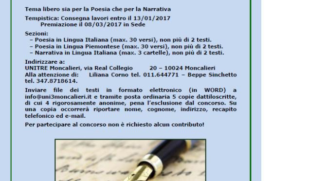 UNITRE di Moncalieri (TO) – Concorso di poesia e narrativa A.A. 2016/2017