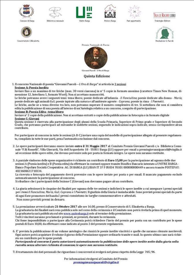 """Premio Nazionale di Poesia """"Giovanni Pascoli – L'Ora di Barga"""" – quinta edizione"""
