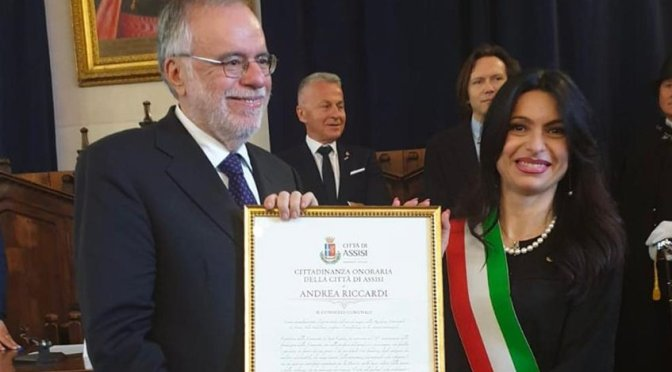 Assisi, conferita la Cittadinanza Onoraria per la Pace al Prof. Andrea Riccardi della Comunità di Sant'Egidio