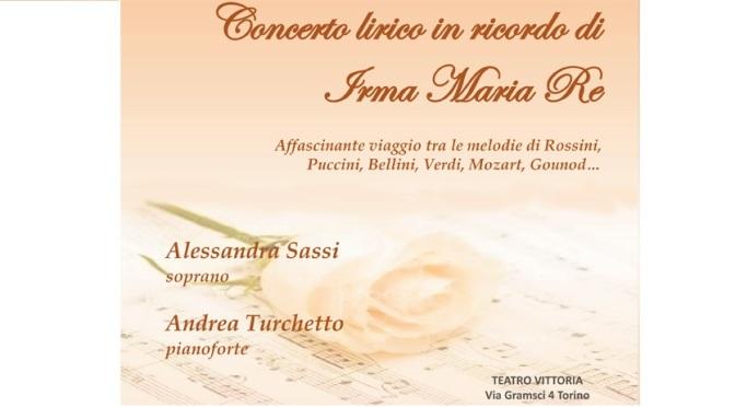 Torino: Concerto lirico in ricordo di Irma Maria Re